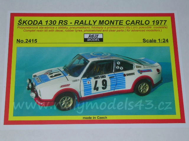 Resin kit 1/24 - Škoda 130 RS/ Rally Monte Carlo 1977- Reji model