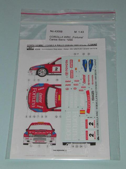 Decal 1/43 Reji Model - Toyota Corolla WRC - Formula Rally Oviedo 1999/ C.Sainz