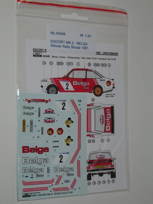 Decal 1/43 Reji Model - Ford Escort Mk II winner Rally Škoda 1981