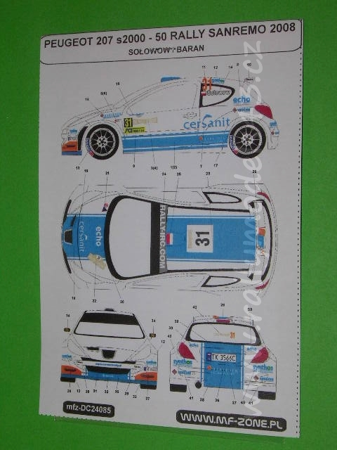 Decal 1/43 MF Zone - Peugeot 207 S2000 Sołowow / Baran- 50 Rally Sanremo 2008