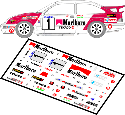 Decal 1/43 MF Zone - Ford Sierra RS Cosworth M. Bublewicz - Rajd Elmot 1992