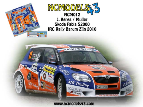 Decal 1/43 NCmodels43 - Josef Beres - Skoda Fabia S2000 - Rally Zlin Barum 2010