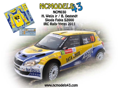 Decal 1/43 NCmodels43 - Hans Weijs jr - Skoda Fabia S2000 - Rally Ypres 2011