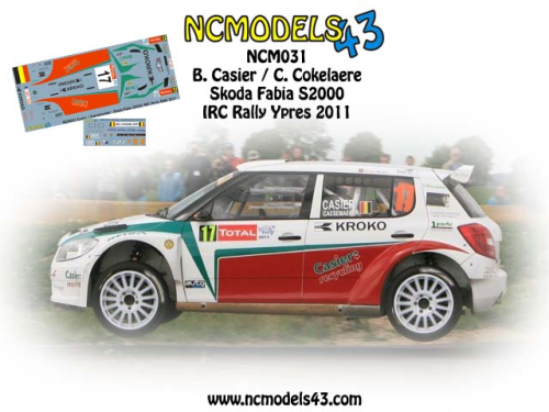 Decal 1/43 NCmodels43 -Bernd Casier - Skoda Fabia S2000 - Rally Ypres 2011