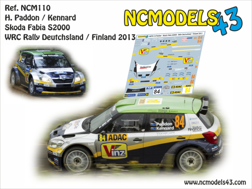 Decal 1/43 NCmodels43 - H. Paddon - Skoda Fabia S2000 - Rally Alemania 2013