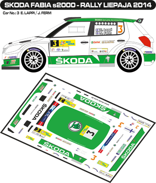 Decal 1/43 MF Zone - Škoda Fabia S2000 E.Lappi - Rally Liepaja 2014