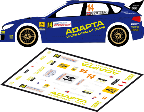 Decal 1/43 MF Zone - Subaru Impreza S14 WRC Ostberg - Rally Poland 2009