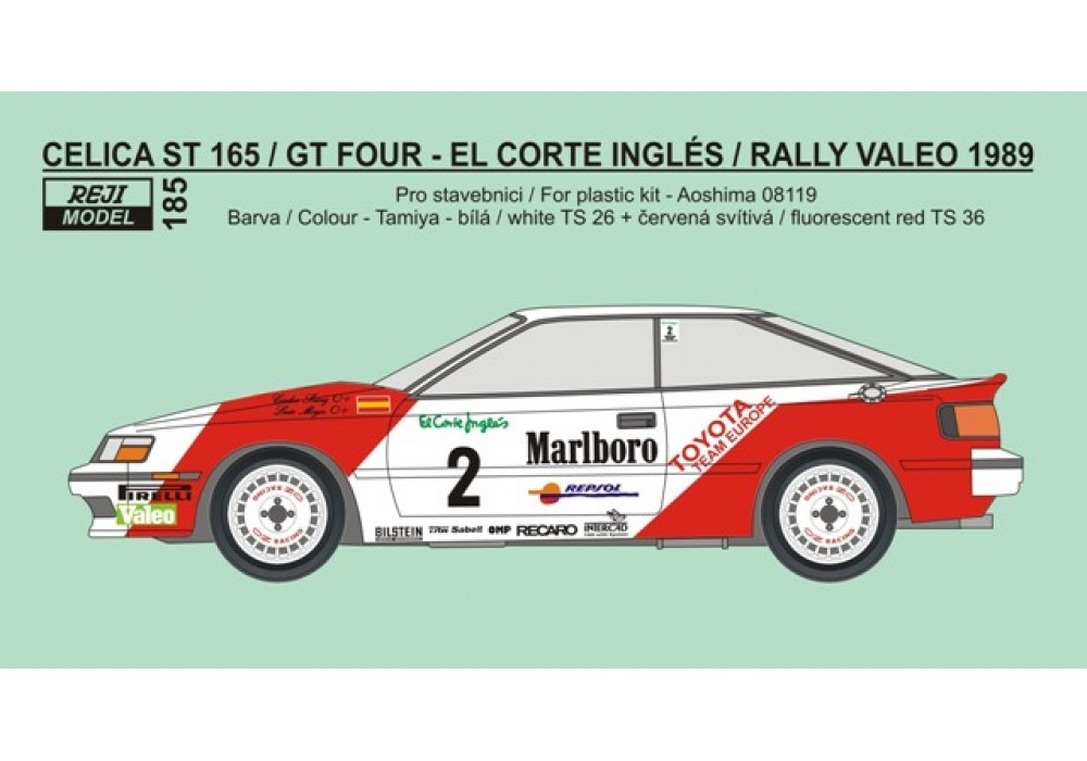 Decal 1/24 Reji model - Toyota Celica ST165 - winner Rally El Corte Ingles 89