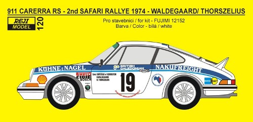 Decal 1/24 Reji model - Porsche 911 Carrera RS - 2nd Safari rally 1974