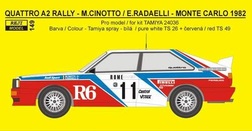 Decal 1/24 Reji model - Audi Quattro - Rally Monte Carlo / San Remo 1982