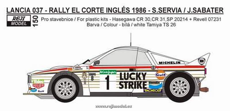 "Decal 1/24 Reji model - Lancia 037 ""Lucky Strike"""