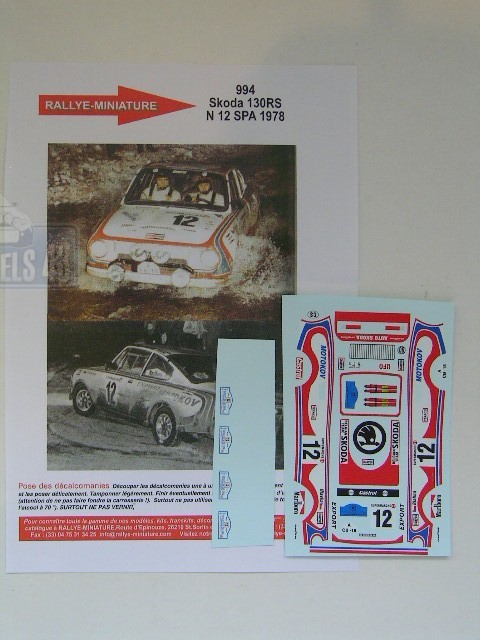 Decals 1/43 Škoda 130 RS - SPA 1978