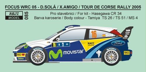 Decal 1/24 Reji model - Ford Focus WRC 04 Tour de Corse 2005 – D.Solá