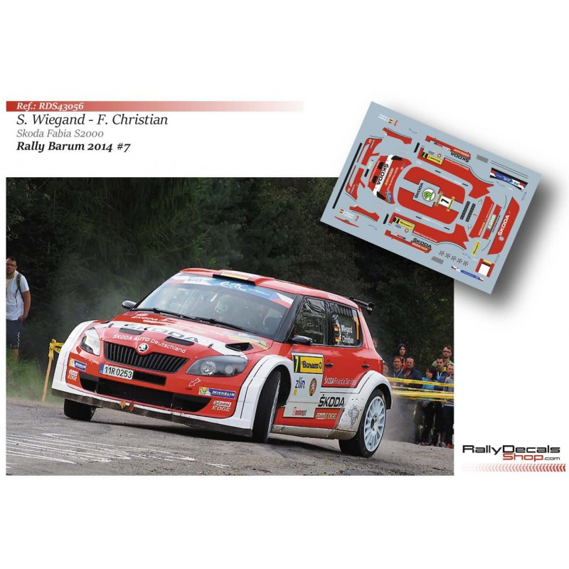 Decal 1/43 - Skoda Fabia S2000 - Barum Rally 2014/ S. Wiegand