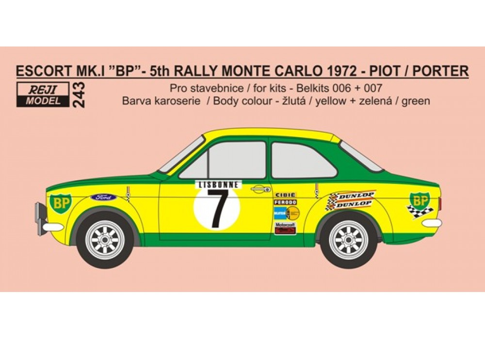 Decal 1/24 Reji model - Decal – Ford Escort Mk.I - Rally Monte Carlo 1972/ Piot