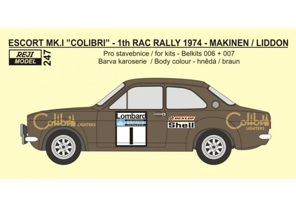 Decal 1/24 Reji model - Decal – Ford Escort Mk.I - RAC Rally 1974/ T. Makinen