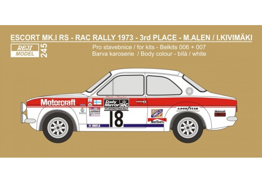 Decal 1/24 Reji model - Ford Escort Mk.I - Daily Mirror RAC Rallye 1973 #18 Alen