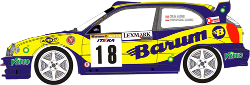 Decal 1/24 MF Zone - Toyota Corolla WRC - Kulig/ Barum Rally Zlín 2003