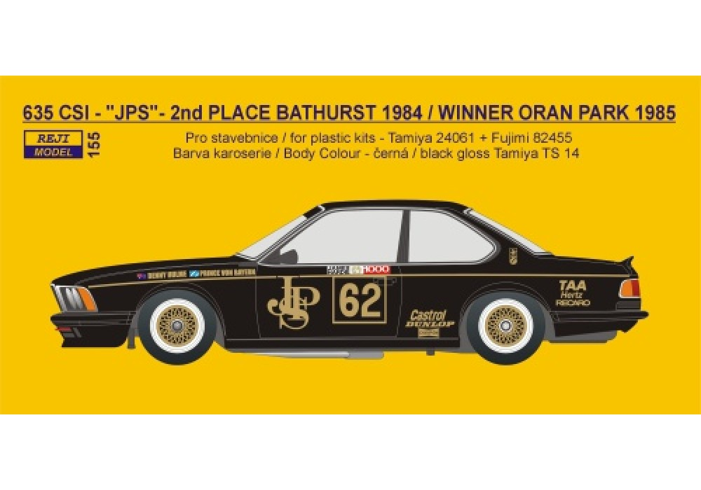 "Decal 1/24 Reji model - BMW 635 CSi ""JPS"" - 2nd Bathurst 1984 / Winner Oran Park"