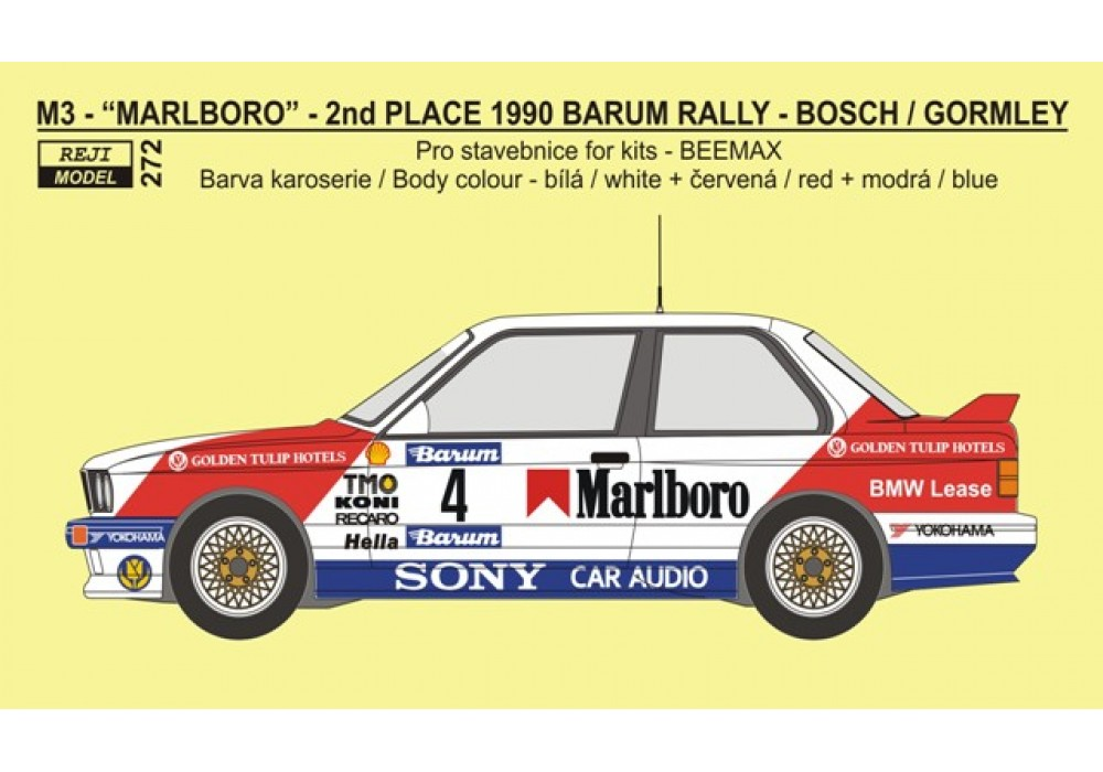 Decal 1/24 - BMW M3 - 1990 Barum rallye 2nd place overall - J.Bosch / K.Gormley