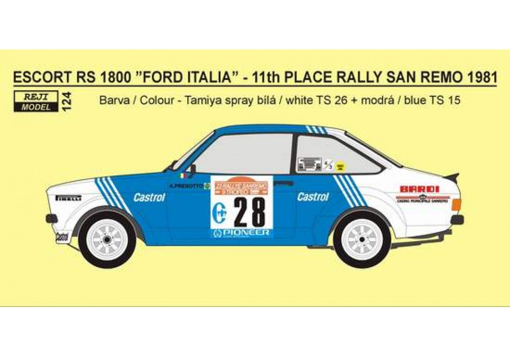 "Decal 1/24 Reji model - Ford Escort RS 1800 ""FORD ITALIA"" Rallye San Remo 1981"