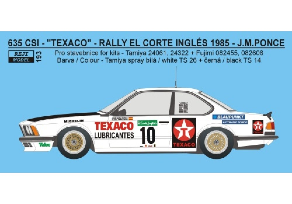Decal 1/24 Reji model - BMW 635 CSi - Rally El Corte Ingles 1985 - Pons