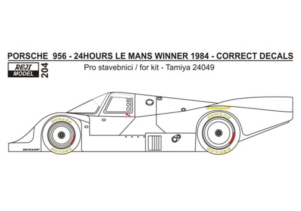 "Decal 1/24 Reji model - Porsche 956 ""Newman"" - 24h Le Mans1984 - missing logo"