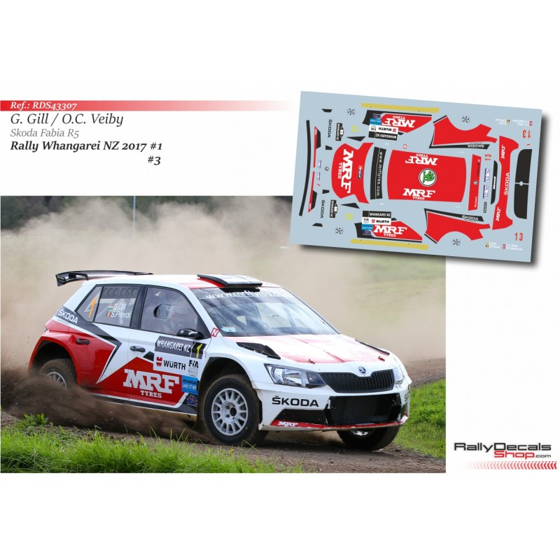 Decal 1/43 - Veiby / Gill - Skoda Fabia R5 - Rally Whangarei NZ 2017