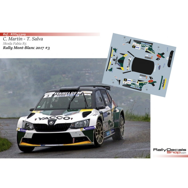 Decal 1/43 - Charles Martin - Skoda Fabia R5 - Rally Mont Blanc 2017