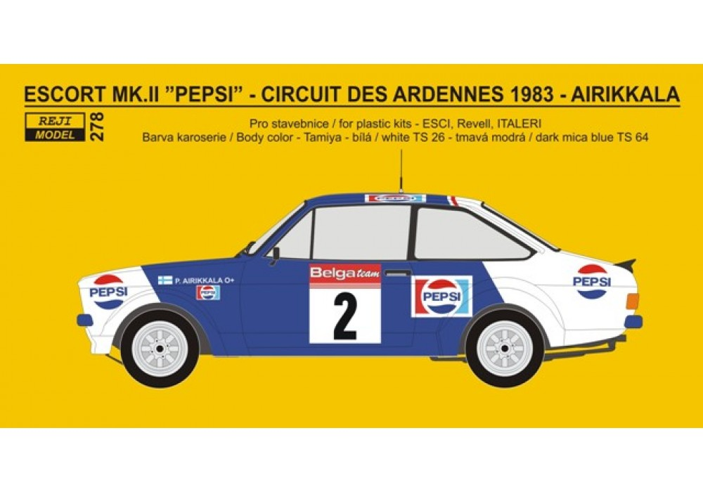 "Decal 1/24 - Ford Escort RS 1800 ""PEPSI"" - Circuit des Ardennes - Airikkala"