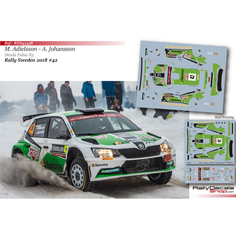 Decal 1/43 - Mattias Adielsson - Skoda Fabia R5 - Rally Sweden 2018
