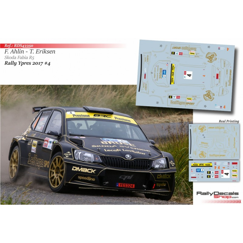 Decal 1/43 - Fredrik Ahlin - Skoda Fabia R5 - Rally Ypres 2017