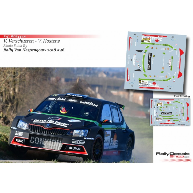 Decal 1/43 - Vincent Verschueren - Skoda Fabia R5 - Rally Haspengouw 2018