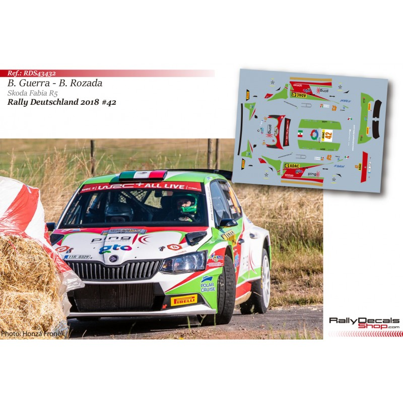 Decal 1/43 - Benito Guerra - Skoda Fabia R5 - Rally Deutschland 2018