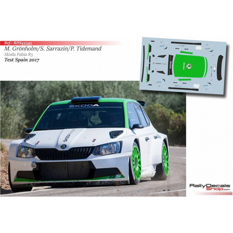Decal 1/43 - Gronholm / Sarrazin / Tidemand - Skoda Fabia R5 - Test