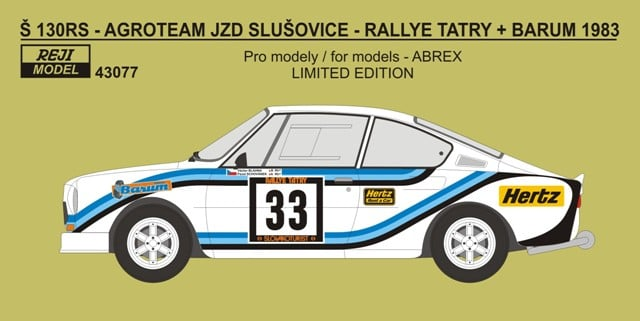 Decal 1/43 Reji Model - Škoda 130 RS (JZD Slušovice) - Rally Tatry + Barum 1983