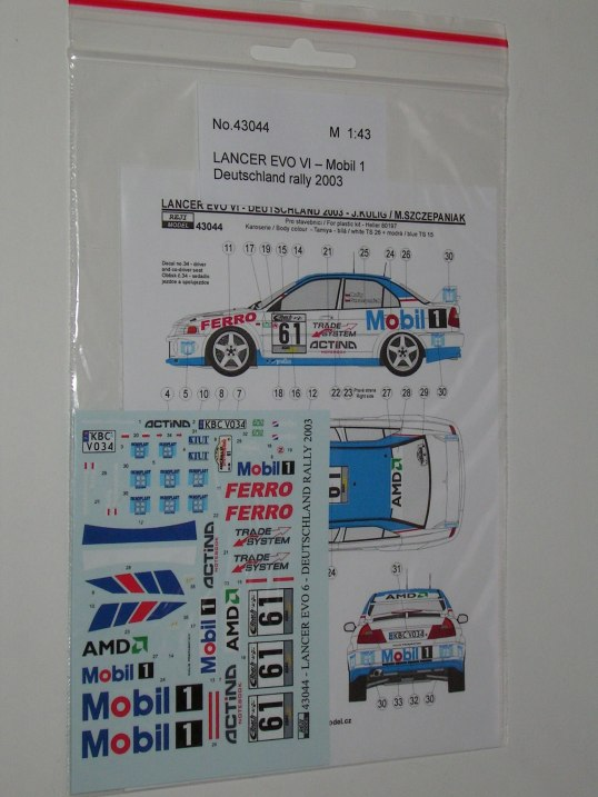 Decal 1/43 Reji Model - Mitsubishi Lancer EvoVI - Rally Deutschland 03/ Kulig