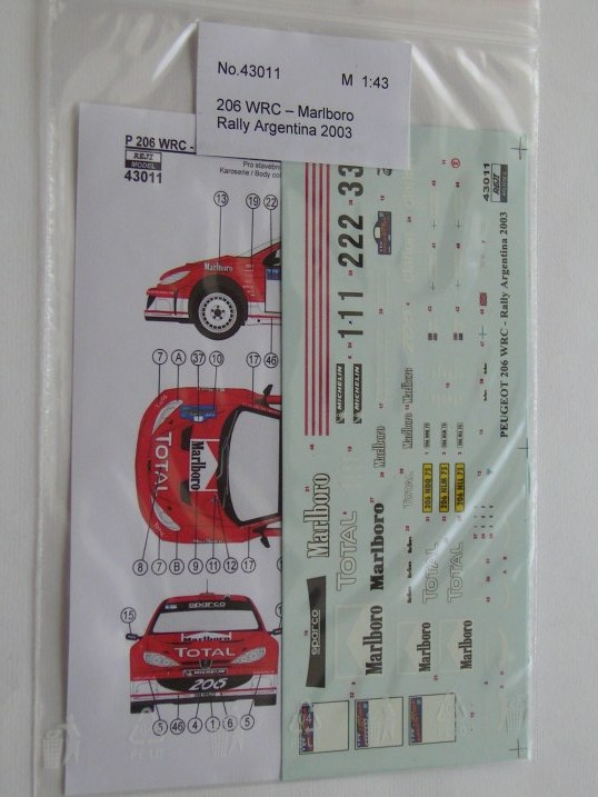 Decal 1/43 Reji Model - Peugeot 206 WRC - Rally Argentina 03/ MARLBORO