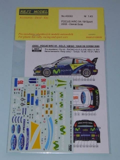 Decal 1/43 Reji Model - Ford Focus WRC - Tour de Corse 2005/ Solá