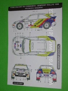 Decal 1/43 MF Zone - Ford Escort RS Cosworth Hołowczyc - Semperit Rally 96