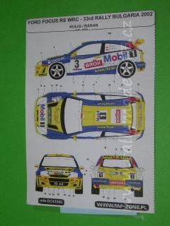 Decal 1/43 MF Zone - Ford Focus RS WRC Kulig / Baran - 33rd Rally Bulgaria 2002