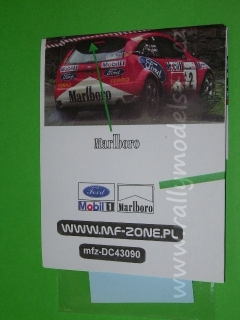 Decal 1/43 MF Zone - Ford Focus RS WRC Kulig / Baran - 58th Rally of Poland 2001