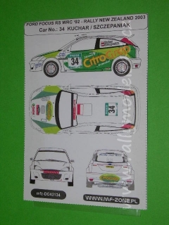 Decal 1/43 MF Zone - Ford Focus RS WRC '02 Kuchar - Rally New Zealand 2003