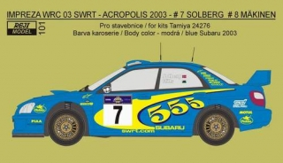 "Decal 1/24 Reji model - Subaru Impreza WRC ""555"" - Acropolis 2003"