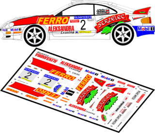Decal 1/43 MF Zone - Toyota Celica GT-4 St205 Kulig / Baran - Semperit Rally 99