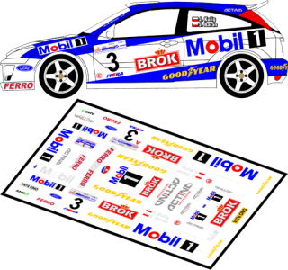 Decal 1/43 MF Zone - Ford Focus RS WRC Kulig / Baran - 59th Rally of Poland 2002