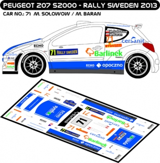 Decal 1/43 MF Zone - Peugeot 207 S2000 M.Solowow - Rally Sweden 2013