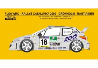 Decal 1/24 Reji model - Peugeot 206 WRC - Catalunya 2000/ M. Gronholm