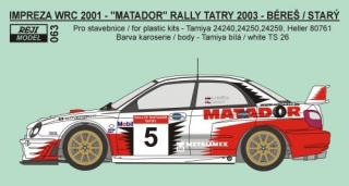 Decal 1/24 Reji model - Subaru Impreza WRC 02 - Rally Tatry 2003 - Bereš/Starý