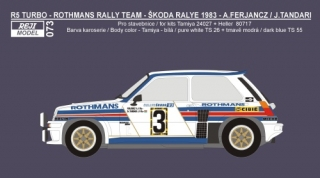Decal 1/24 Reji model - Renault 5 Turbo - Škoda Rallye 1983 - Ferjáncz/Tandari